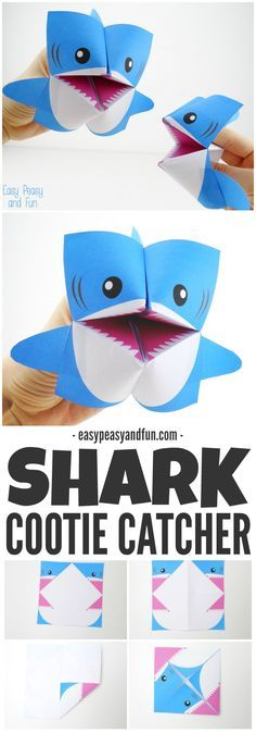 Shark Cootie Catcher – Origami for Kids. Just make color or design the paper that you are going to make the catcher with, or you can color the paper after you have made the cootie catcher. This is a cool craft to keep the kids busy! Projects For Kids, Diy For Kids, Kids Crafts, Craft Projects, Craft Ideas, Diy Ideas, Easy Oragami For Kids, Paper Craft For Kids, Craft Art