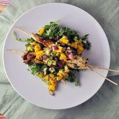 Cilantro Chicken Skewers with Mango Salsa