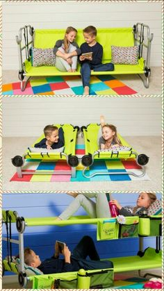Cam-o-bunk... bunk beds for camping... converts to sofa and two beds. Kids and adult sizes!