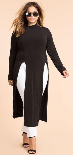 Plus Size High Slit Tunic Top