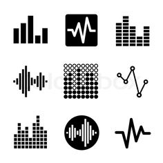 Music soundwave equalizer graphics icons set. Vector, vector