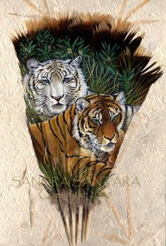 Tiger Yin Yang Feather Print of the original by Sandra SanTara. Beautiful print of the original painted feather fan featuring an orange and white tiger pair Paper Feathers, Bird Feathers, Painted Feathers, Feather Painting, Feather Art, Feather Crafts, Small Tats, Turkey Feathers, Airbrush Art