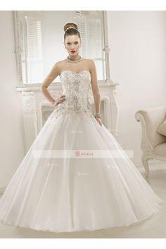 A-Line Sweetheart Lace-up Floor length Chiffon Applique Wedding Dresses