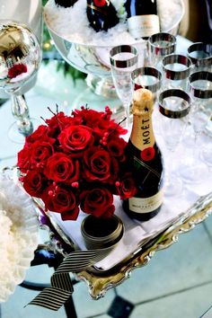 A nicely done table featuring Moet & Chandon champagne make for a festive occasion!