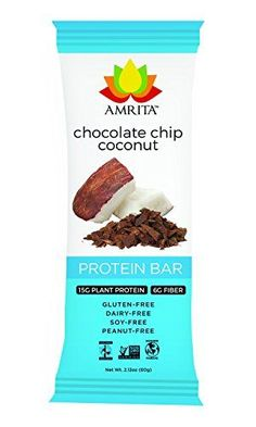 Paleo Chocolate Chip Coconut High Protein Bars  GlutenFree DairyFree and NonGMO Certified  Vegan Raw and Kosher  Kids Safe Snack  Clean Fuel for Athletes  Pack of 12 by Amrita >>> Find out more about the great product at the image link.Note:It is affiliate link to Amazon.