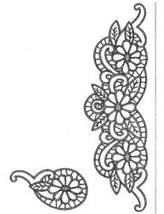 çizim Lace Patterns, Applique Patterns, Quilt Patterns, Knitting Patterns, Cutwork Embroidery, Embroidery Designs, Henna Style, Lacemaking, Parchment Craft