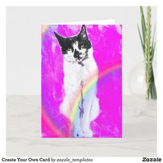 """Small, 4"""" x 5.6"""" Folded Greeting Card Custom Greeting Cards, Planet Earth, Party Hats, Thoughtful Gifts, Create Your Own, Art Pieces, Kitty, Cat, My Favorite Things"""