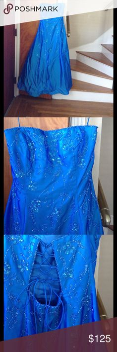 Prom gown Beautiful sapphire blue strapless prom gown. No stains, recently dry cleaned. Dresses Prom