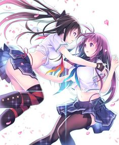 Anime picture 				2121x2560 with  		valkyrie drive 		valkyrie drive -bhikkhuni- 		kagurazaka rinka 		kagurazaka ranka 		mana kakkowarai 		long hair 		tall image 		blush 		blue eyes 		open mouth 		highres 		light erotic 		black hair 		breasts 		simple background 		multiple girls 		white 		fringe 		large breasts 		ponytail