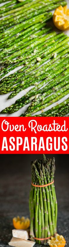 Oven Roasted Asparagus, made from fresh asparagus, olive oil, garlic, and parmesan, is a simple and easy vegetable side dish. With very little prep and cook time, you end up with the most delicious, tender, vibrant green asparagus. #centslessmeals #asparagus #ovenroasted #easyrecipe #sidedish #vegetable #15minuterecipe