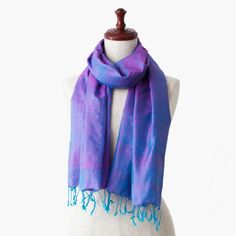 """The silk stole from Cambodia named """"Happy Blue Pink""""."""