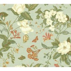 "York Wallcoverings Williamsburg Garden Images 27' x 27"" Floral and Botanical Wallpaper Color:"