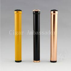 COHIBA MINI Gadgets Yellow&Black Aluminium Alloy Travel Cigar Tube Portable Humidor W/ Humidifier