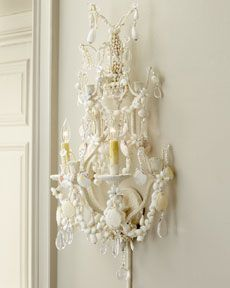 shells glued to chandeliers wall sconces -- ciao! newport beach: decorating with sea shells Wall Sconce Lighting, Cool Lighting, Wall Sconces, Seashell Chandelier, Seashell Art, Glamour Decor, Beach Crafts, Shell Crafts, White Decor