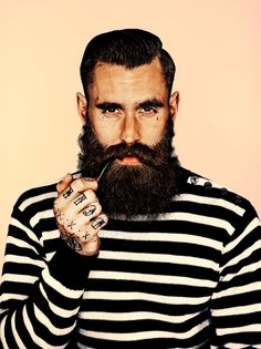 Beardsman in a striped jumper (and pipe)