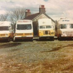 2 Bedford CFs (Walls & Another) , Land Rover (Walls), Leyland Sherpa (Mr Whippy) Ice Cream Vans Commercial Van, Commercial Vehicle, Bedford Blitz, Catering Van, Bedford Truck, Ice Cream Van, Vintage Ice Cream, Old Trucks, Icecream