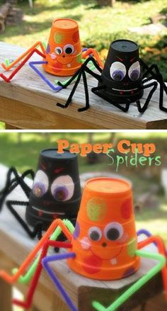 Paper Cup Spiders | 20+ DIY Halloween Crafts for Kids to Make | DIY Halloween Crafts for School Parties