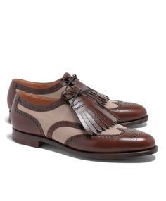 Peal & Co.® Leather and Canvas Wingtip Shoes
