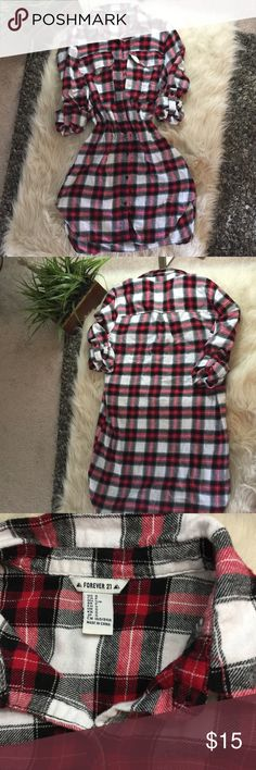 """Soft flannel dress Approx 34"""" long. Soft button up flannel dress. Can be belted, worn over leggings, as a nightshirt etc. so comfy and sexy! New without the tags. Long sleeves can be unrolled. Red black and white classic plaid. Forever 21 Dresses"""