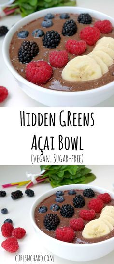 Hidden Greens Açai Bowl (vegan, sugar-free) | curlsnchard.com Vegan Smoothie Recipes, Superfood Recipes, Vegan Breakfast Recipes, Raw Food Recipes, Vegan Dishes, Healthy Desserts, Vegan Food, Smoothies, Vegan Sugar