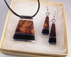 Handmade Statement Jewelry Wooden Necklace Earrings Set Black Pendant Inlaid Desert Ironwood 5th Fifth Wood Anniversary Gift READY TO SHIP by ElkAndIron on Etsy https://www.etsy.com/listing/245277562/handmade-statement-jewelry-wooden