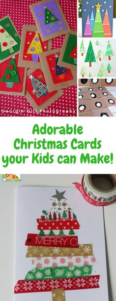 Christmas cards for kids to make - these handmade cards are gorgeous and granny will love to receive any one of them! I love the paint chip cards and the ones with the button baubles the most!