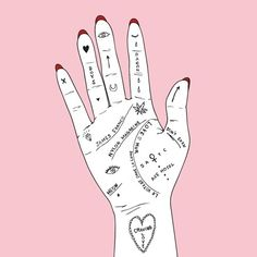 pink, hand, and drawing image