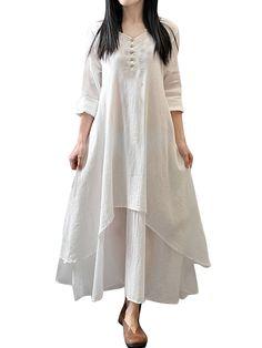 Vintage Women Solid Long Sleeve Patchwork Irregular Cotton Linen Dress