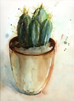 Helen Ström: My Cactus, watercolor of the day...