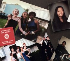 A collage of photographs of Hae Min Lee and her friends.