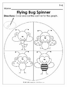 Flying Bug Spinner for Preschool and Kindergarten Math