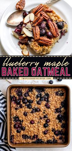 Looking for a healthy breakfast idea or brunch recipe? Try this Blueberry Maple Baked Oatmeal! It's a healthy, filling oatmeal packed with juicy blueberries, lots of cinnamon, and sweetened with pure maple syrup. Pin this recipe!