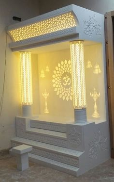 temple design for home temple Temple Room, Home Temple, Pooja Room Door Design, Design Room, Temple Design For Home, Ganpati Decoration At Home, Mandir Design, Living Room Sofa Design, Puja Room