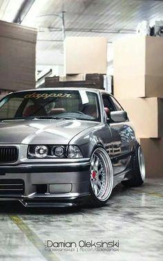 #BMW E36 3 #series silver #deep dish #slammed dapper