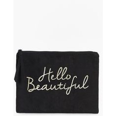 Boohoo Hello Beautiful Gold Foil Make Up Bag | Boohoo (33 BRL) ❤ liked on Polyvore featuring beauty products, beauty accessories, bags & cases, toiletry bag, toiletry kits, travel bag, travel kit and travel toiletry case