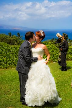 Morning wedding in Maui, Dennis blows the conch. You're Maui'd! http://www.marrymemaui.com