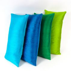 SILK PILLOWS Set of Four Multicolored -Aquamarine Silk Pillow ($250) ❤ liked on Polyvore featuring home, home decor, throw pillows, silk throw pillows, lumbar throw pillow, blue green throw pillows, set of 4 throw pillows and multi colored throw pillows