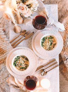Romantic Table Setting, Date Night Dinners, At Home Date Nights, Romantic Dinners, Pasta Dishes, Delish, Dating, Favorite Recipes, Vanilla Milk