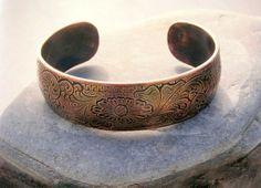 Hand Engraved Copper Cuff Bracelet Men Women Western by DJReigel, $265.00