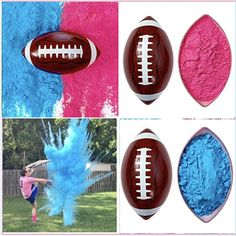 🏈 Gender Reveal Football For a Memorable Gender Reveal That Your Friends and Family Will Talk About For Years! 🏈 The Ball Opens With a Cloud Of Pink Or Blue Powder When Kicked Or Thrown Against a Hard Surface 🏈 100% NON-TOXIC HOLI POWDER: Made Out Of 95% Cornstarch & Colored Using Food-Grade Dyes 🏈 The Most Powder! The Pink & Blue Gender Reveal Powders Are Safe For Expecting Parents & Kids To Be Around Gender Reveal Ballons, Gender Reveal Party Games, Gender Reveal Themes, Confetti Gender Reveal, Gender Reveal Party Supplies, Gender Reveal Party Decorations, Reveal Parties, Gender Reveal Football, Simple Gender Reveal