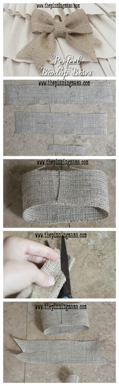 How to Make No Sew Burlap Bows---- The easiest!  Love this tutorial!