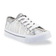 Joe Boxer Girl's Repeat Silver Sequin Fashion Sneaker