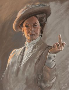 tomthefanboy:caitlinhill:flat-adverb:lucillebruise:stunningpicture:Portrait I drew of the lovely Maggie Smith. I am getting this framed and hung over my fireplace goddamn.  Same.  Slow clap.   I'm pretty sure this is the portrait of McGonnagal that hangs across from the portrait of Snape in the headmaster's office.
