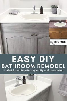Looking for an easy DIY bathroom remodel? This small budget bathroom renovation didn't cost much at all because instead of buying new I painted countertops plus I used chalk paint to paint and glaze the cupboards. I love this inexpensive idea. Budget Bathroom Remodel, Bathroom Renovations, Home Renovation, Home Remodeling, Bathroom Ideas, Bathroom Makeovers, Bathroom Showers, Bathroom Inspiration, Shower Ideas