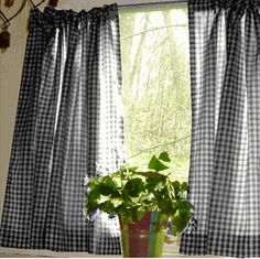 Black and White Cafe Curtains Gingham Check