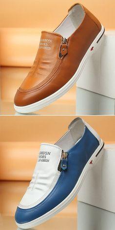 6087c989f34c US 45.89 Men Side Zipper Soft Low Top Slip On Casual Shoes shoes  simple