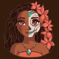Shop Moana: Sugar Skull Series moana t-shirts designed by Ellador as well as other moana merchandise at TeePublic. Disney Kunst, Arte Disney, Disney Fan Art, Disney Magic, Cute Disney Drawings, Disney Princess Drawings, Cute Drawings, Moana Disney, Moana Moana