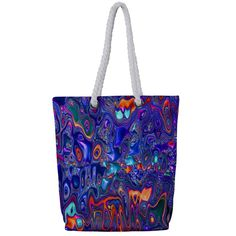 Melted Fractal 1b Full Print Rope Handle Bag (Small) Canvas Material, Small Bags, Fractals, Creative Design, Handle, Tote Bag, Abstract, Pattern, Small Tote Bags