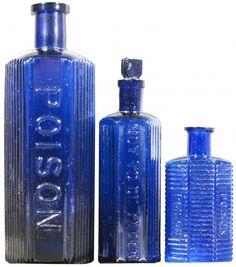 Cobalt blue poison bottles