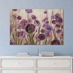 iCanvas Pink And Purple Flowers Canvas Art. Ideal for a purple or pink themed room, or as an accent to provide a pop of color. #affiliatelink #floweredart #purplecanvasart #canvasart